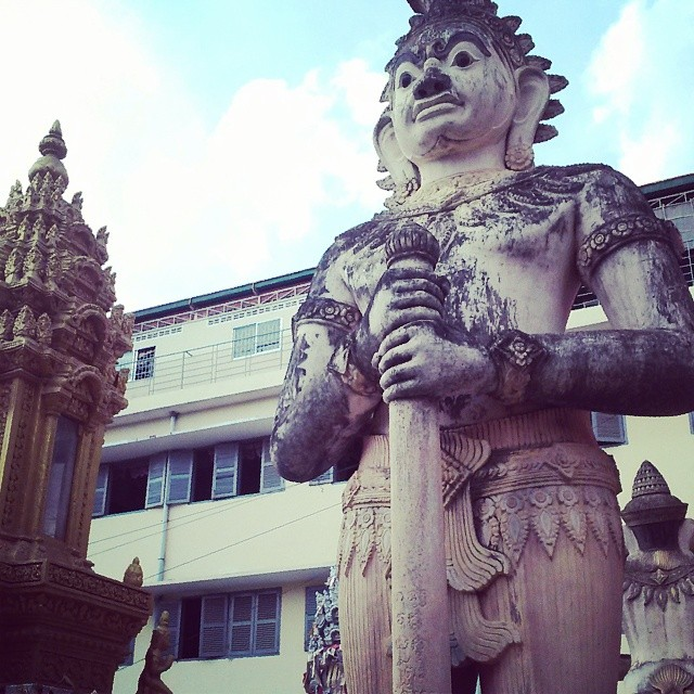 Unique statuary restored at the park grounds, Wat Pithetthearam, Battambang City. Image (c) 2014 Benjamin J Spencer