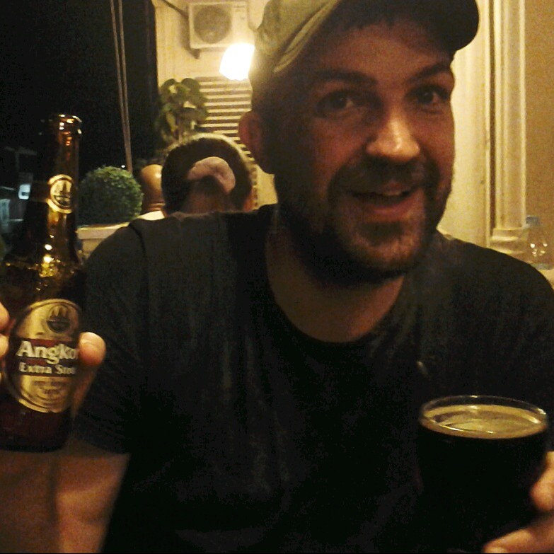 Beej is so happy to find good dark beer in Cambodia, he's close to tears. Photo (c) 2015 Stacy Libokmeto for Misadventurist Media